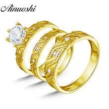 AINUOSHI 7,3 г настоящее золото <b>трио</b> кольца Свадебные ...