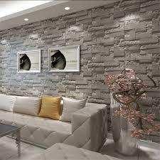 3D <b>Print</b> Grey Brick <b>Stone</b> Wallpaper Vintage Rustic Stacked Slate ...