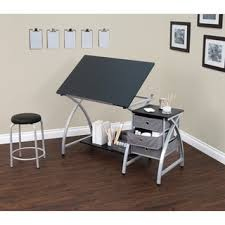 studio designs silverblack comet center drafting and hobby craft table with stool architect office supplies