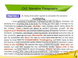 paragraphs to essays  pearso n alice oshima  ann hogue longman   a using time order signals to complete the narrative ch narrative paragraphs