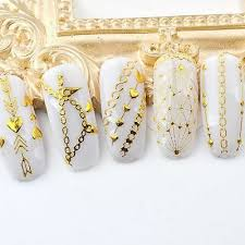 nail wave sticker strap 3d gold metal applique diy stereo stickers 1 sheet ultrathin nail sticker transfer decal