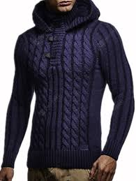 Men's Winter <b>Fashion</b> Sweater Hooded Hemp Pattern Knit Top Sale ...