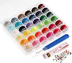 <b>36Pcs Sewing</b> Machine Bobbin Threads with Case and Measuring ...