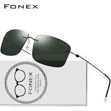 <b>Rimless Sunglasses Polarized Titanium</b> Men Brand Design ...