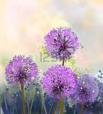 acrylic painting oil painting purple onion flowerabstract flower painting in soft colorful acryclic painting soft