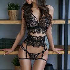 Underwear Set <b>Women</b> Elegant Lingerie <b>Sexy</b> Lace Bra Satin Floral ...