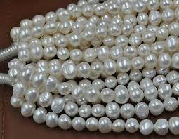 wholesale <b>5 strands</b> 9-10mm <b>Baroque</b> white fresh water pearl Free ...