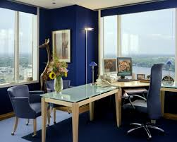 awesome blue white glass wood unique design cool office work space wall paint floor lamp table interior awesome cool office interior unique