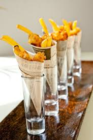 best ideas about food presentation food plating love the rustic feel that paper covering is that newspaper looking paper either way it s cool those tall glasses look like shot glasses 128541 so