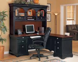 furniture gothic style executive office desk and chairs design with having black leather swivel chair and black middot office