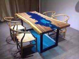 dining table woodworkers: acacia live edge river wood and glass dining table