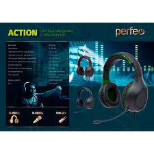 <b>Гарнитура Perfeo ACTION</b>, игровая, чёрно-зелёная (PF_A4476 ...