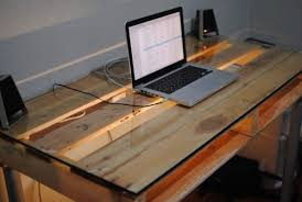 recycled wood used as desk build office desk