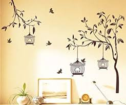 Decals Design StickersKart Wall Stickers <b>Tree</b> with <b>Birds</b> and Cages ...