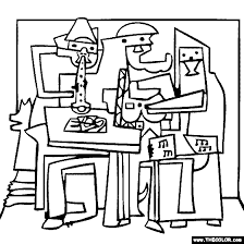 c928e9f074dfbe6f038953006ceb6b0f pablo picasso three musicians coloring famous paintings on three musicians coloring page