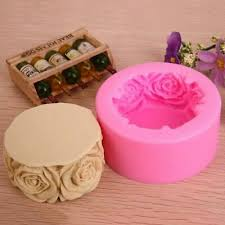 70x32mm Rose Flowers 3D <b>Silicone Soap Mold</b> Candle Mould For ...