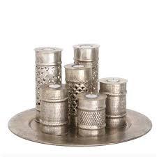 <b>Поднос</b> металлический с 6 подсвечниками <b>D 50 см</b> серебряный ...