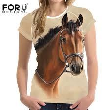 <b>FORUDESIGNS</b> Harajuku Horse <b>Female T shirts Women</b> Summer ...