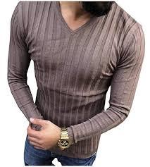 Buy WQ&Energy Men Pullover <b>Long Sleeve Pure Chic</b> Soft Spring V ...