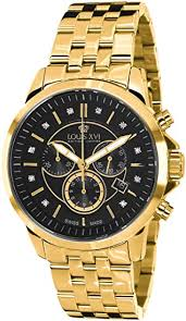 LOUIS XVI <b>Men's</b> Watch <b>Aramis</b> Steel Strap <b>Gold</b> Black Real ...