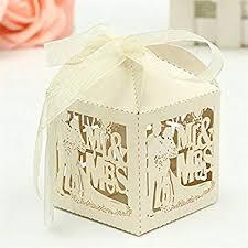 Tinksky 50pcs Mr Mrs <b>Bride Groom</b> Laser Cut <b>Wedding</b> Favor Box ...
