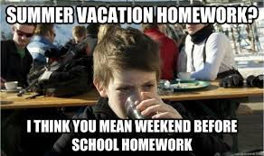 Summer Vacation Homework? i think you mean weekend before school ... via Relatably.com