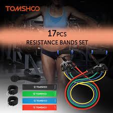 TOMSHOO <b>17Pcs Resistance Bands Set</b> Workout Fintess Exercise ...
