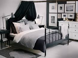 black bed with white furniture. svelvik black bed with hemnes bedside tables and alina dark grey bedspread cushion covers white furniture