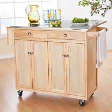 leaf kitchen cart: cart with rolling wooden kitchen island cabinet with stainless countertop plus drop leaf on island