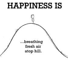 Happiness is, breathing fresh air atop hill. - Happy Funny Quote via Relatably.com