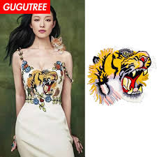 <b>GUGUTREE Embroidery Big</b> Tiger Patches Animal Patches Badges ...