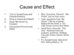 cause and effect  turn in visual essay and outside reading  what    turn in visual essay and outside reading  what is
