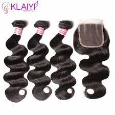 klaiyi hair brazilian body wave with closure 4 pcs remy weave bundles 100 human 3