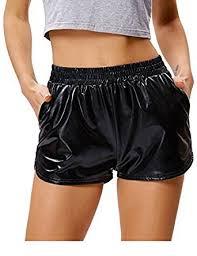 womens shorts shiny elastic waist