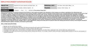 Procurement Supervisor Raw Materials Commodities Resumes And Cover     Procurement Supervisor Resume Sample