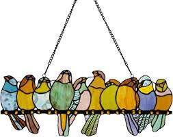 River of Goods <b>Birds</b> on a Wire 9.5 Inch High <b>Stained Glass</b> ...