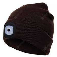 <b>Man</b> Button Battery Knit Hat with Light Creative Lighting LED Hat ...