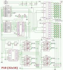 p10 led matrix panels 16x32 schematic diagram rubbings two modules p10 p10 1r v701c red led and p10 1r v901a green in the circuit 16 registers 74hc595 ms d1 d16