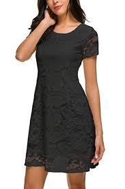 Bloggerlove <b>Women's</b> Lace Dress Short Sleeve <b>Elegant A Line</b> ...