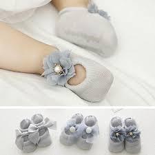 <b>3 Pairs</b>/<b>Lot</b> Lace Flower <b>Newborn Baby Socks Cotton</b> Anti-Slip Kids ...