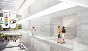 much of the inside of the futuristic building will also be made of glass with stone apple new office