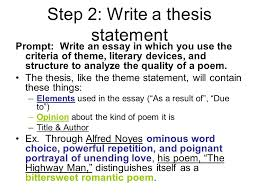 poetry analysis essay help and example from the highwayman   ppt  step  write a thesis statement prompt write an essay in which you use