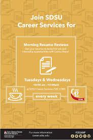 career services sdsu morning resume reviews