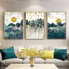 Mesmerizing multi-panel <b>geometric landscape wall</b> art – Embla