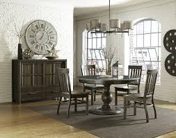 kitchen pedestal dining table set: round dining table with bluestone top