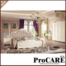 popular light brown leather bed european furniture set villa furniture sets bedroom set light wood light