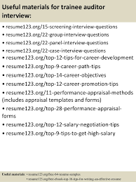 top  trainee auditor resume samples