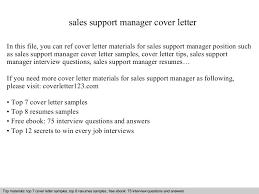 Sales support manager cover letter SlideShare