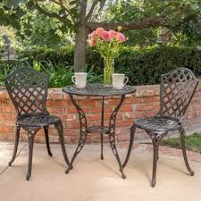 brown wicker outdoor furniture dresses: la sola outdoor  piece cast aluminum bistro set by christopher knight home