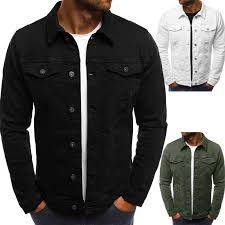 Spring Autumn <b>Men'S Casual</b> Denim <b>Jacket Turn Down</b> Collar ...